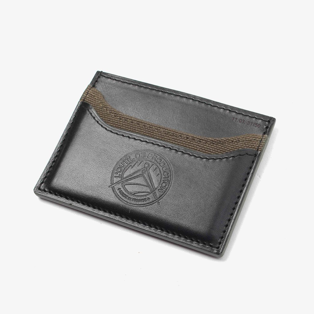 Slim Card Holder in Leather and Canvas — L'Outil de Production